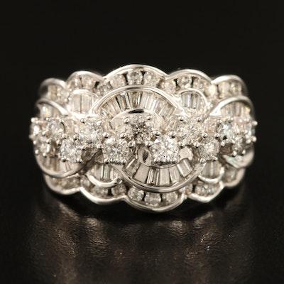 10K 1.45 CTW Diamond Scalloped Ring