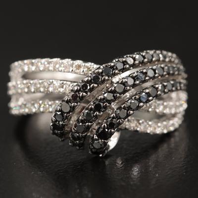 10K 1.02 CTW Diamond Multi-Row Crossover Ring