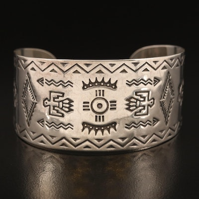 Sterling Cuff with Thunderbirds, Arrows and Suns