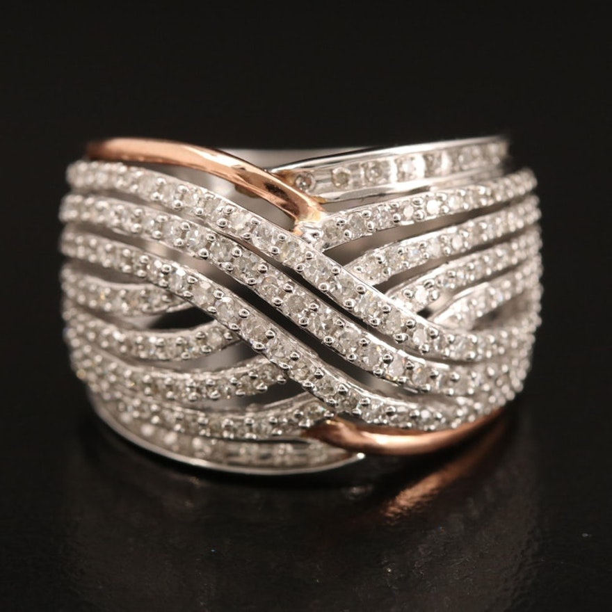 10K 1.00 CTW Diamond Crossover Band with Rose Gold Accents