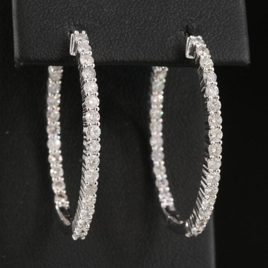 14K 2.49 CTW Diamond Inside-Out Oval Hoop Earrings
