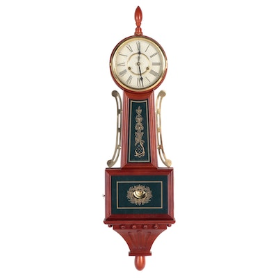 D & A Wood and Brass with Gilt Glass Banjo Clock, Late 20th Century