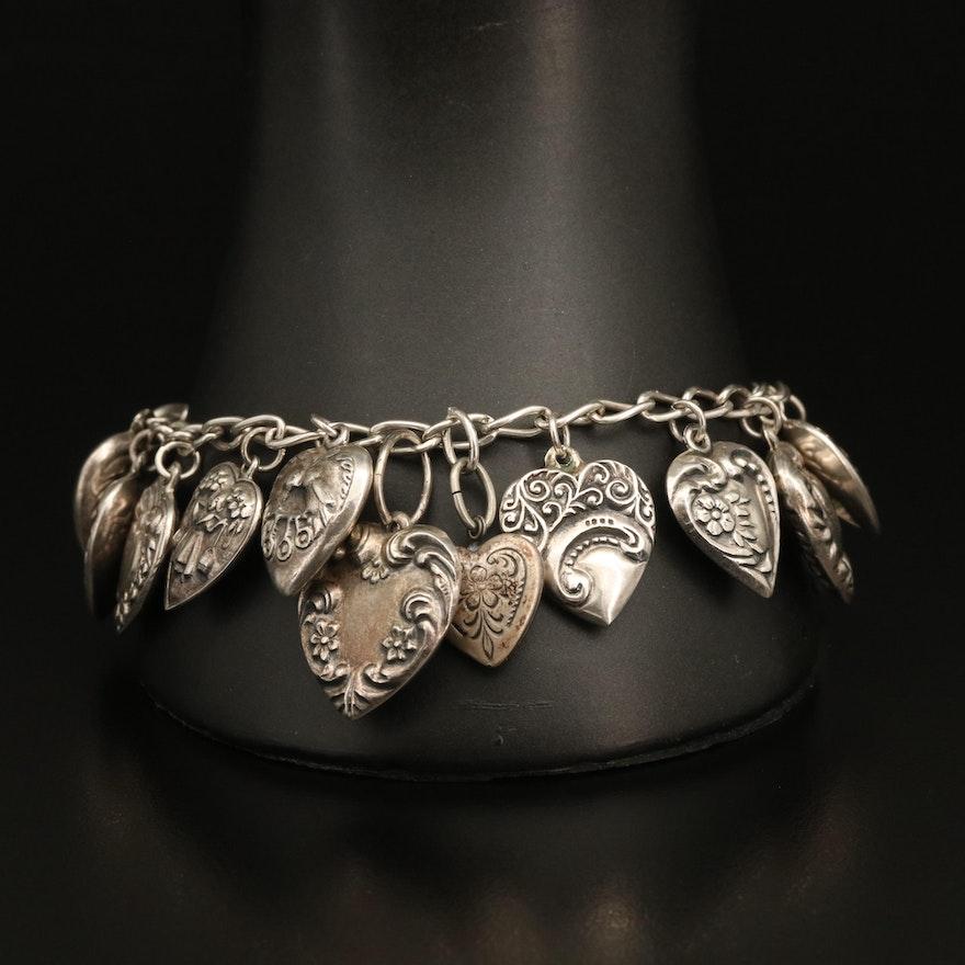 Vintage Puff Heart Charm Bracelet