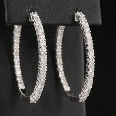 14K 3.32 CTW Diamond Inside-Out Oval Hoop Earrings
