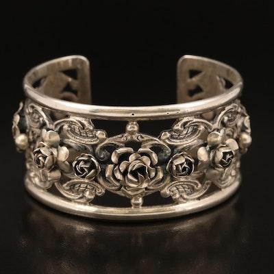 Italian Fratelli Peruzzi Vintage 800 Silver Renaissance Rose Cuff