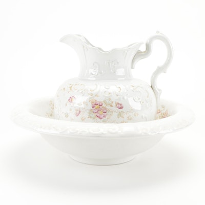 Trillby Ceramic Floral Motif Pitcher and Basin, Early to Mid-20th Century