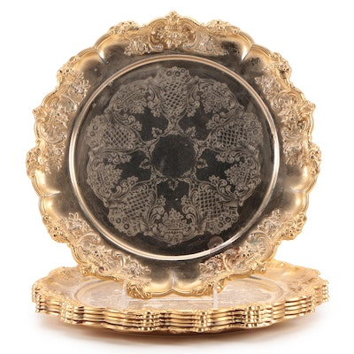 Gold Wash Silver Plate Floral Chased Chargers, Mid to Late 20th Century