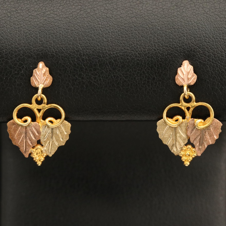 12K Tri-Colo Grape Leaf Cluster Drop Earrings