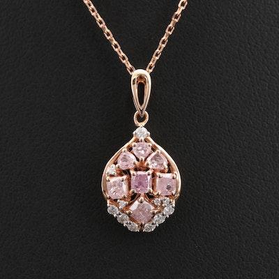 18K Rose Gold 0.95 CTW Diamond Pendant Necklace