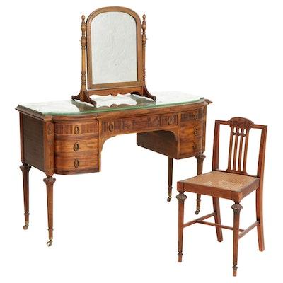 Sheraton Style Mahogany Vanity Table and Chair, Early 20th Century