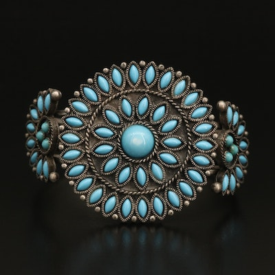 Faux Turquoise Petit Point Cuff