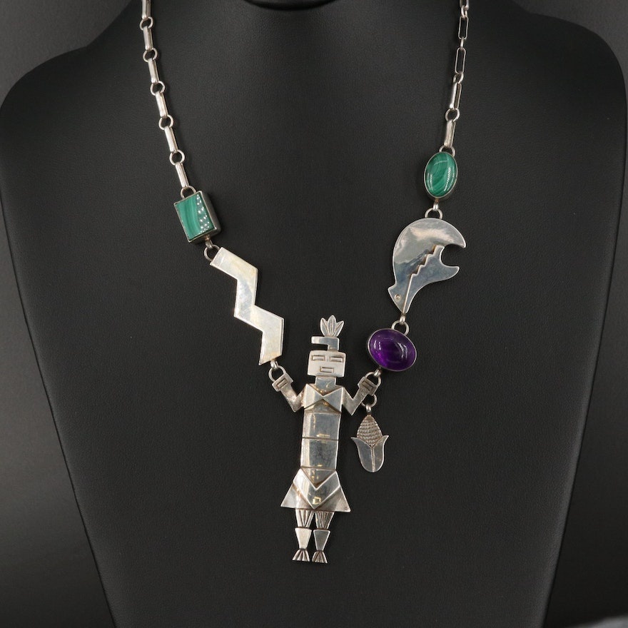 Juan Willie Navajo Diné Sterling and Gemstone Yei and Spirit Bear Necklace