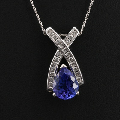 14K 1.94 CT Tanzanite and Diamond Pendant Necklace