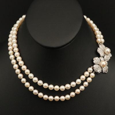 Vintage Pearl Necklace with Platinum 4.00 CTW Diamond Flower Clasp