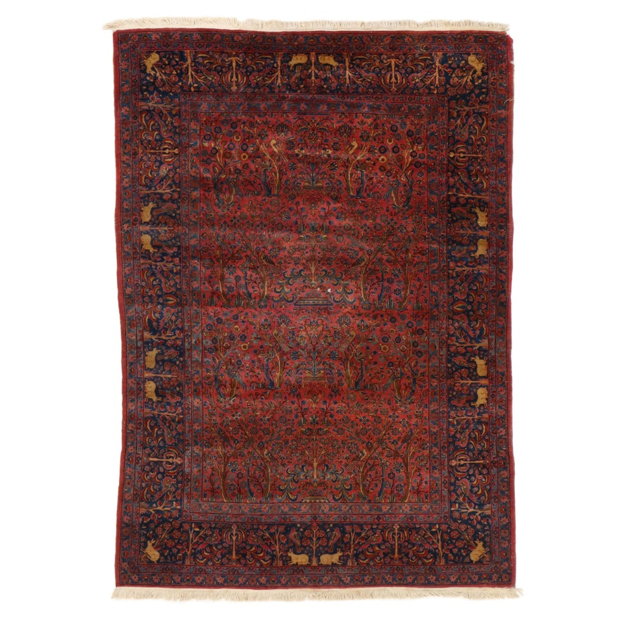 7'5 x 10'9 Hand-Knotted Persian Kerman Pictorial Area Rug