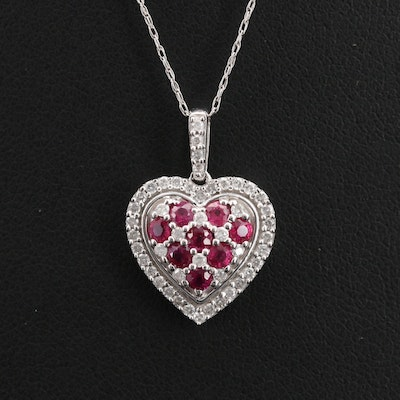 10K Ruby and Diamond Heart Pendant Necklace