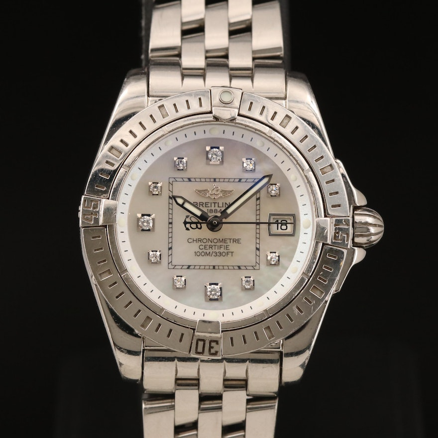 Breitling Cockpit Lady Diamond and MOP Dial Stainless Steel Wristwatch