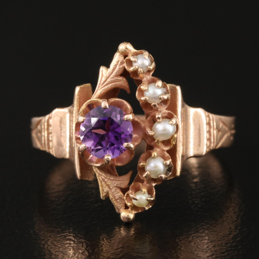 Victorian 14K Rose Gold, Amethyst and Pearl Ring