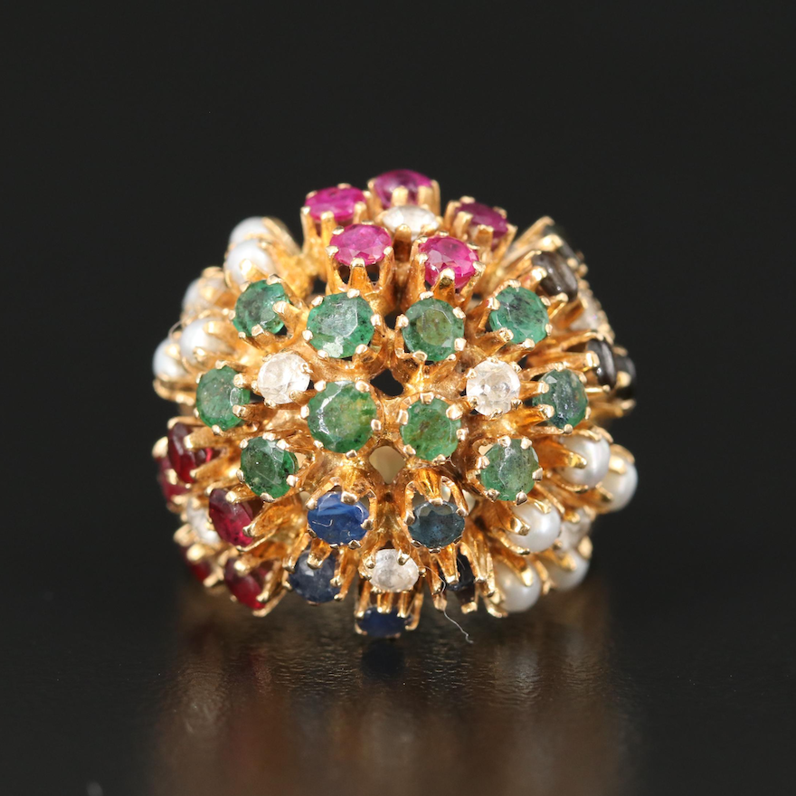 18K Sputnik Ring with Emerald, Sapphire and Ruby