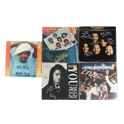 The Jacksons, Janet Jackson, Commodores and Other Signed Vinyl LP Records