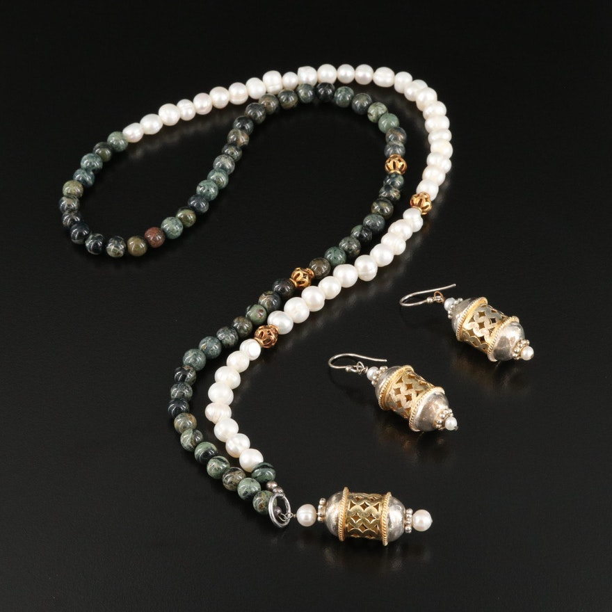Sterling Silver Pearl and Jasper Lariat and Earring Set