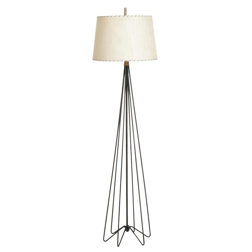 Mid Century Modern Bent Metal Hairpin Base Floor Lamp, Mid-20th Century