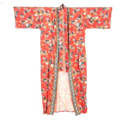 Silk Kimono Style Robe with Sakura and Plum Blossoms