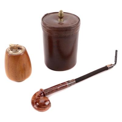 Bosca Leather Wrapped Cigar Jar, Colibri by Kreisler Table Lighter, Smoking Pipe