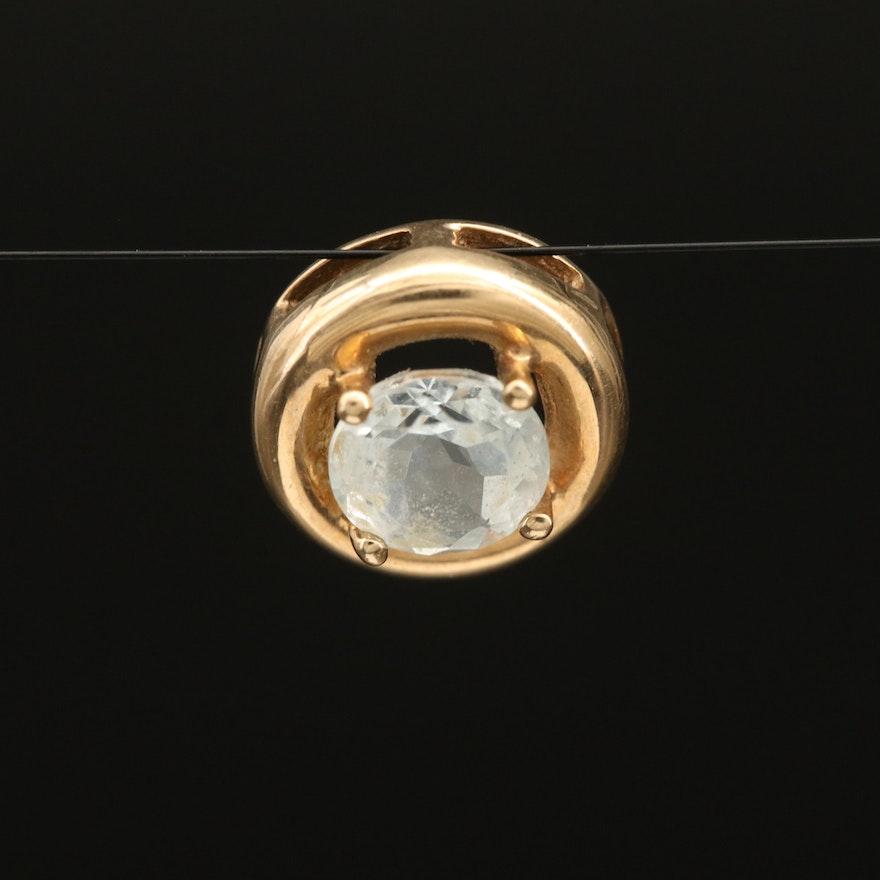 10K Aquamarine Solitaire Pendant