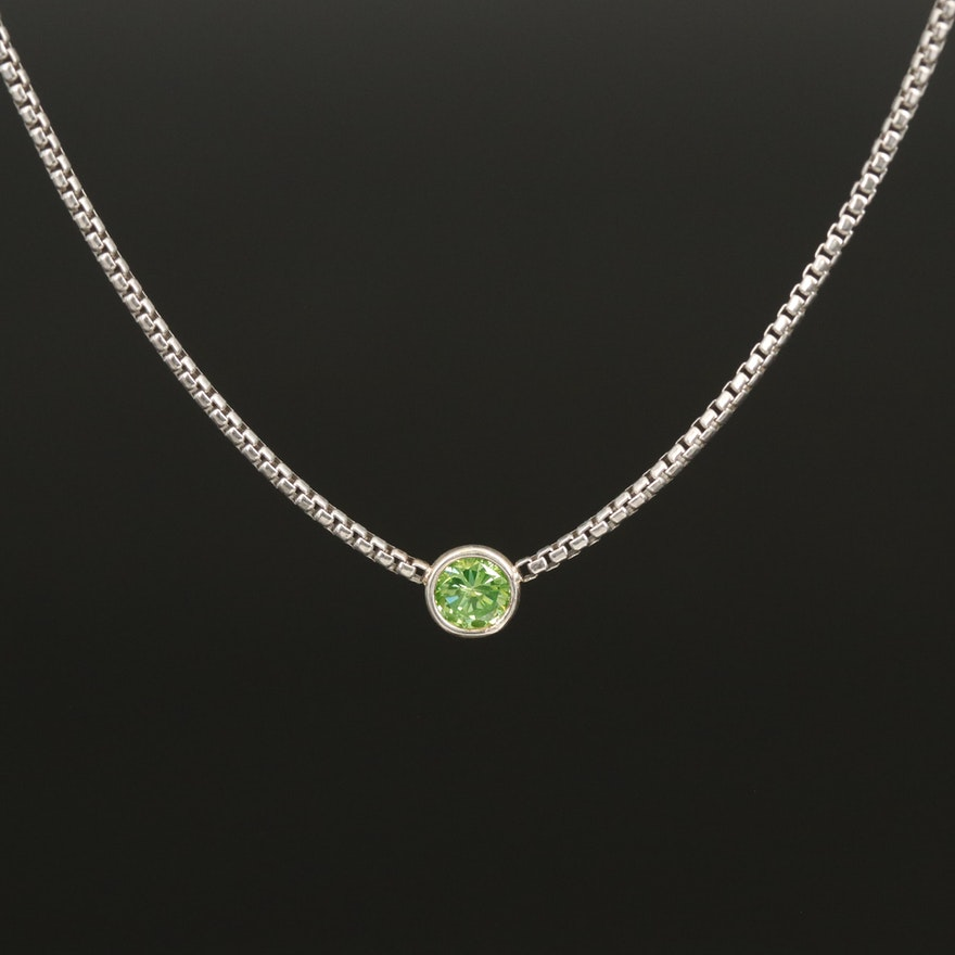 Sterling Silver 0.25 CT Bezel Set Diamond Solitaire Necklace
