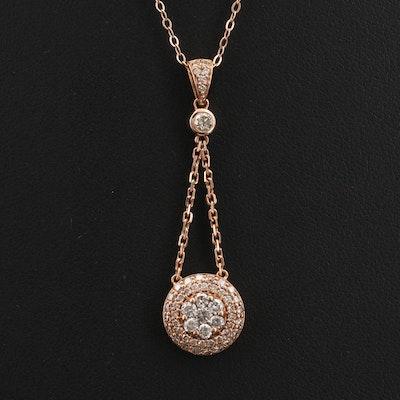 10K Rose Gold 0.83 CTW Diamond Pendulum Pendant Necklace