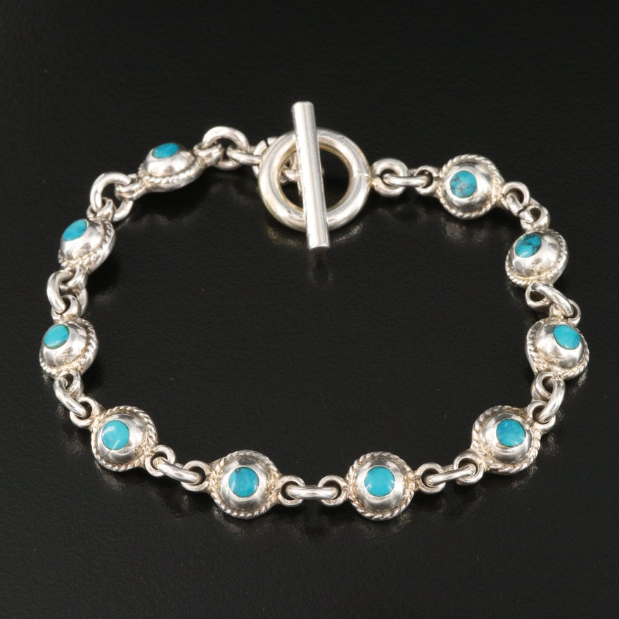 Mexican Sterling Silver Turquoise Toggle Bracelet