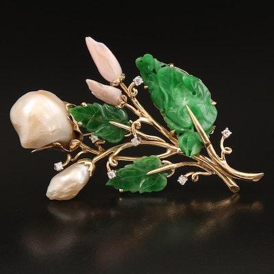 14K Jadeite, Pearl and Diamond Flower Bouquet Brooch