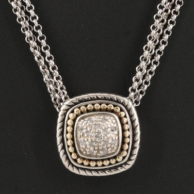 Sterling Silver Diamond Slide Pendant Necklace with 14k Accent