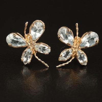 10K Sky Blue Topaz Butterfly Stud Earrings