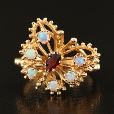 14K Garnet and Opal Butterfly Ring