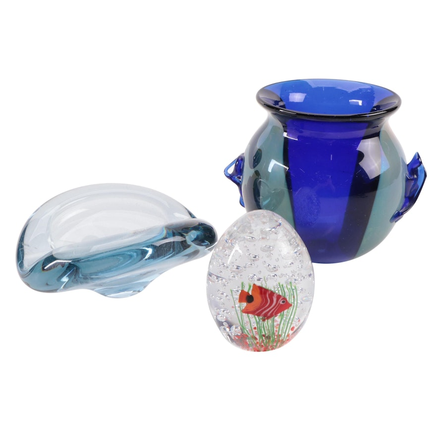 Holmegaard Art Glass Bowl and Other Vase and Paperweight