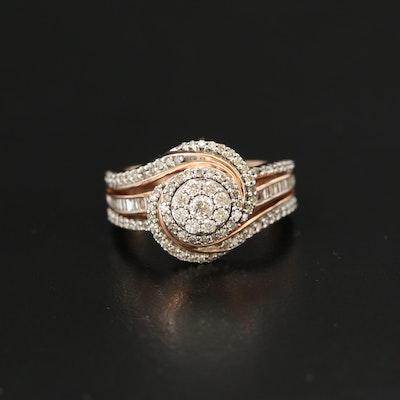 10K Rose Gold 0.64 CTW Diamond Swirl Ring