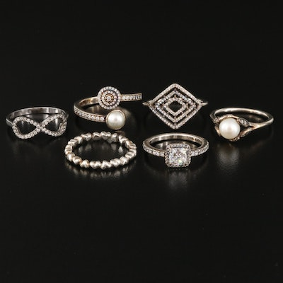 Pandora Sterling Silver Pearl and Cubic Zirconia Rings