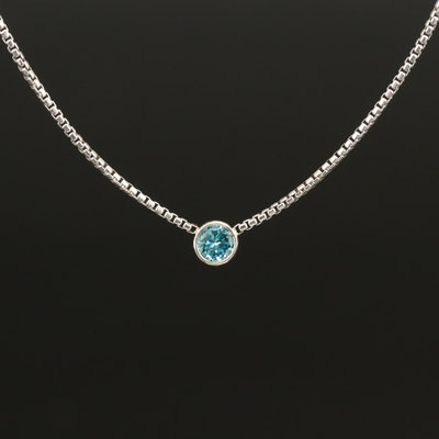 Sterling Silver 0.25 CT Bezel Set Fancy Blue Diamond Solitaire Necklace