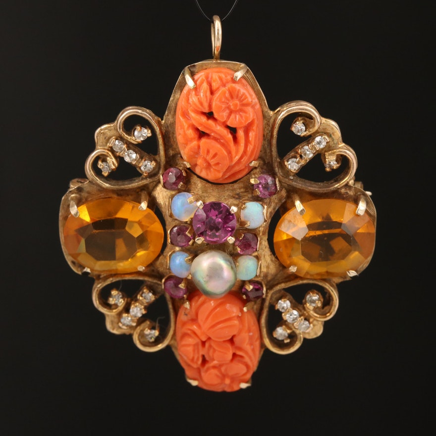 Vintage 10K and 14K Converter Brooch with Carved Coral, Diamond and Opal