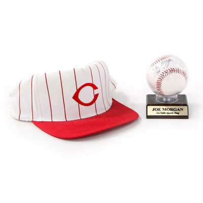 "Joe Morgan Signed ""HOF '90"" Baseball and Johnny Bench Cincinnati Reds Ball Cap"