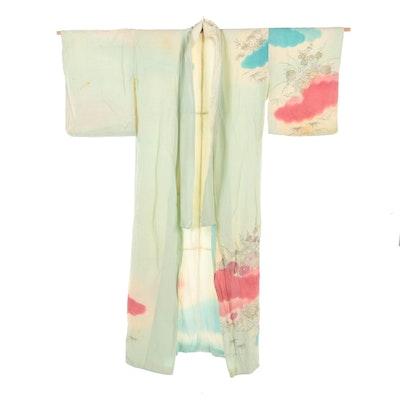 Scenic Floral Hand-Painted Hōmongi Kimono