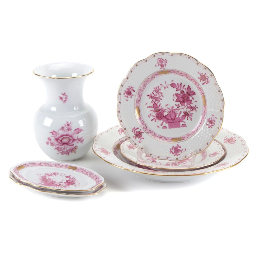 """Herend """"Chinese Bouquet Raspberry"""" Porcelain Bowl, Saucers, Trays, and Vase"""