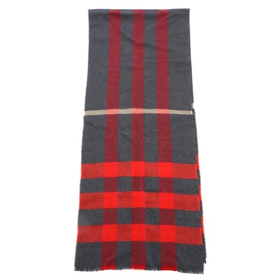 Burberry Check Cashmere Scarf with Fringe