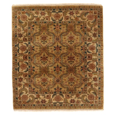8'3 x 9'9 Hand-Knotted Romanian Floral Area Rug