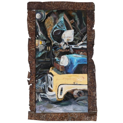 Brian Salbrecht Abstracted Oil Painting of Cars, 1998