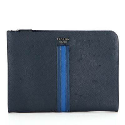 Prada Document Case in Multicolor Blue Saffiano Leather