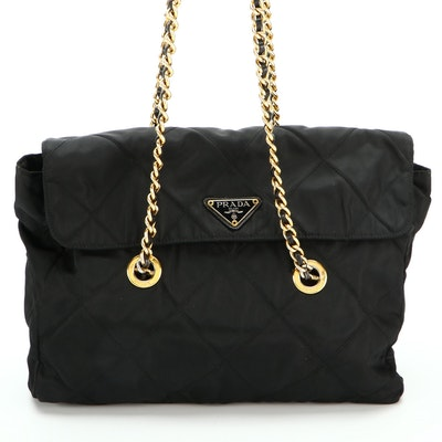 Prada Black Quilted Tessuto Nylon Shoulder Bag with Leather and Chain Strap