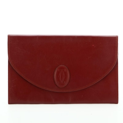Must de Cartier Burgundy Leather Envelope Clutch